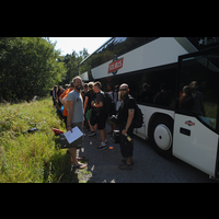 A bus full of hackers arrive at BornHack 2016